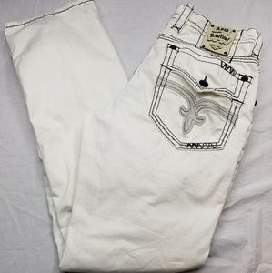 🔥SOLD🔥Rock Revival White Straight Jeans 34x32